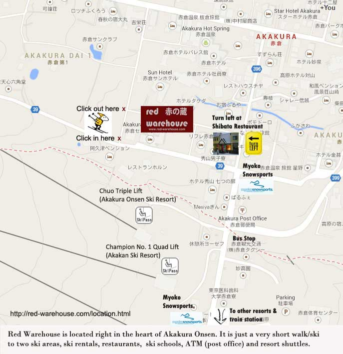 Location: Red Warehouse Myoko. Akakura Onsen location map for Red Warehouse Myoko