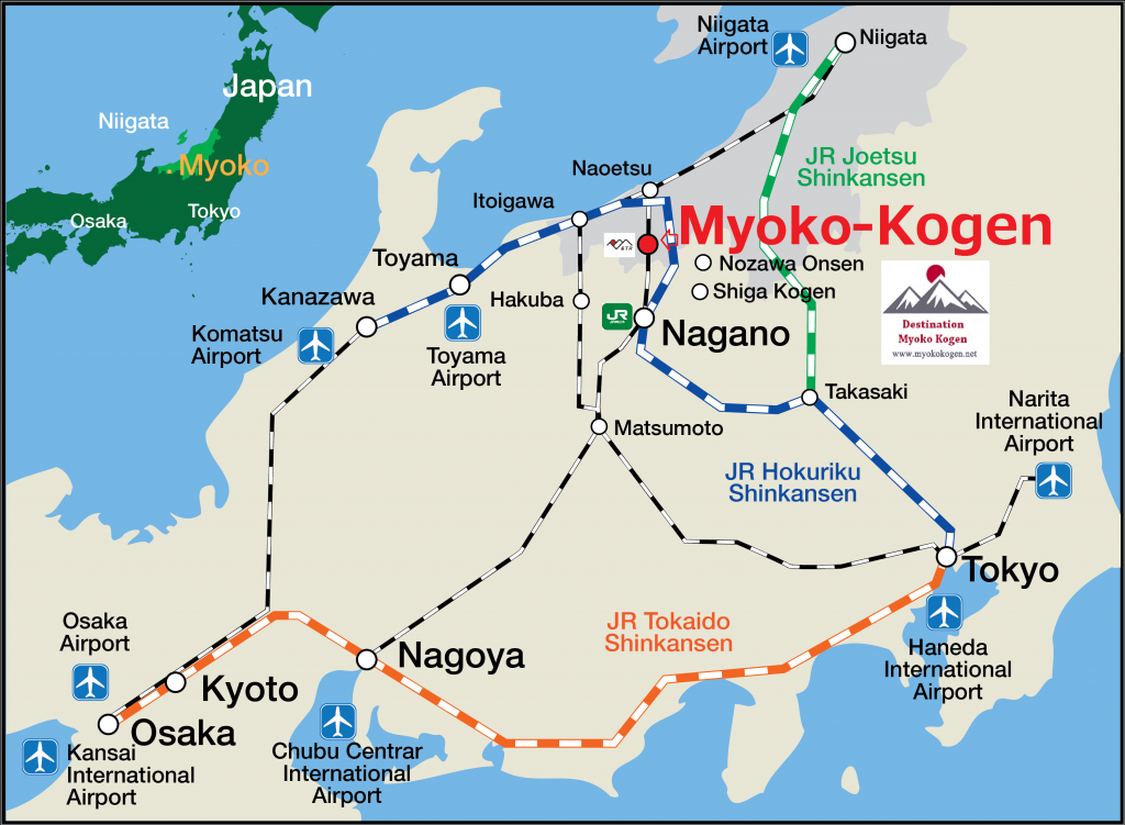 Getting to Myoko. Access map from airport to Myoko Kogen